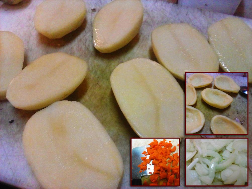 Barchette di patate, ripiene di patate